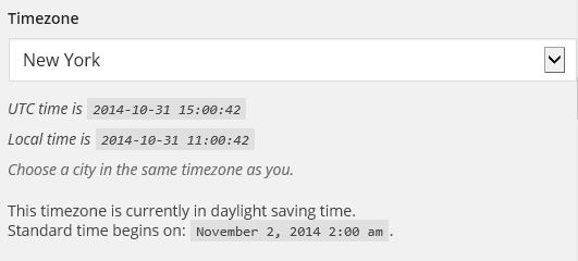 wordpress daylight savings time by city