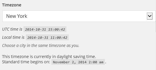 wordpress daylight savings time by city